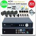 Sistema de seguridad del CCTV 4CH H.264 DVR + 4X 700TVL EFFIO IR exterior cámara de la bala + 1 TB HDD