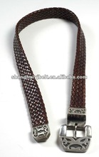 Designer Pat Areias Woven Leather Belt Heavy Sterling Silver Buckle YJ-GH059