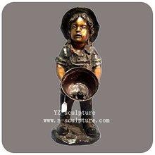 Brass girl and frog garden statue BFSN-B056A