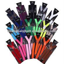 Mens Womens Clip-on cheap Suspenders Elastic Y-Shape Adjustable Braces Solids YJ-SP002