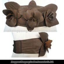 JANYO#ZY-17326 5cm/width flower tan ladies stretch belts