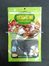 Harmless & eco-friendly material three sides sealed plastic food packaging bag for fruit or nut with a window handle