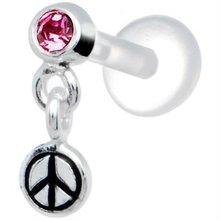 Dangle gem stainless steel piercing jewelry 16 gauge lip ring