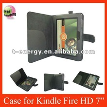 Smart Cover Leather Case For Amazon Kindle Fire HD 7''(side-open),free shipping,Black color