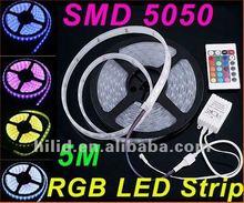 5M Waterproof SMD RGB 5050 LED Strip 300LED Flexible Strip light + 24 key IR remote