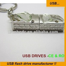 popular crystal with diamond pen drive jewelry promotional flash usb drives