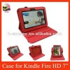 Smart Cover Rotating leather case for Kindle Fire HD 7'',Free Shipping,Red color