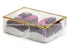 2 Pc RECTANGLE Clear Truffle Boxes Metallic Gold Rim