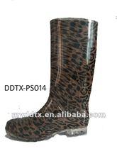 2012 best selling fashionable women panther print velvet lining pvc rain boots