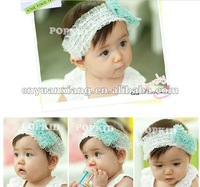 Cheap handmade crochet baby lace headband with bowknot