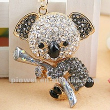Stock Rhinestone Koala keychain key ring SK191