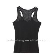 2012 summer factory price sexy style fashion women 100%cotton beaded plain black t shirt
