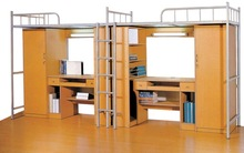 New design dormitory furniture metal student bunk bed with desk