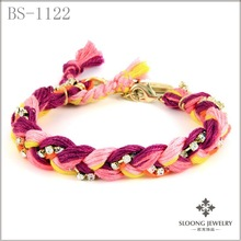 cute cz diamond bracelet custom cotton cord bracelet special bracelet handcraft jewelry 12 pcs/lot--free shipping