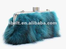 fashion racoon dog fur lady evening bag
