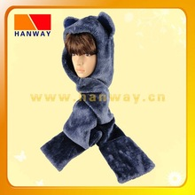Fashion fake fur animal shape winter scarf hat with fleece lining
