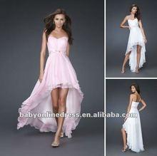 Wholesale Hot Sale 2012 Strapless Beaded Hi Low Pink Chiffon Beach Bridesmaid Dresse LF01
