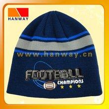 winter sports acrylic beanie, stripe pattern, football printing