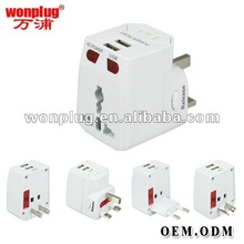 2012 hot universal adapter with dual USB/factory direct selling