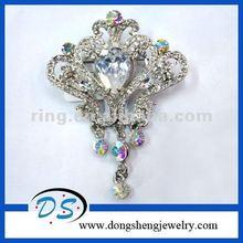 VTG wedding cake pins silver diamond crown european rhinestone brooch