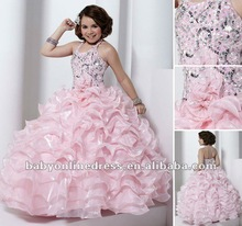 Wholesale - 2012 Ruffles Ball Gown Pink Little Queen Organza Flower Girl Dresses Beaded Halter Children Dresses