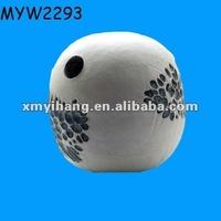 White Ceramic clay portable round bird cage