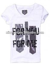 2012 White V-neck printing women's t-shirt