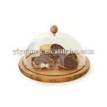 acrylic cake dome with wood base