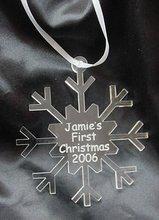 Custom Handmade Acrylic Christmas Ornament in Snow Flake Shape
