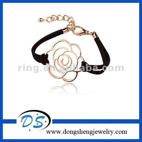 Wax Rope Beachy Leather Bracelet Chic Adjustable Flower Link Cuff Bracelet