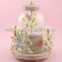 hobbyhorse snow globe/resin water globe/snow globe souvenir with music box