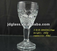 machine made carved decoration small drinking glass goblet
