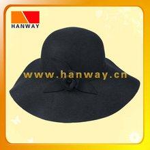 fashion wool felt floppy hat with self band and flower detail trim