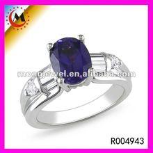 2012 SILVER MENS DESIGNER BLUE SAPPHIRE RING