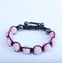 2012 hot sale fashion handmade adjustable crystal ball shamballa bracelet