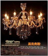 2012 Selling Star 8 Light Cognac Crystal Chandelier, Venetian Lights Delicate Design For Hotel & Villa