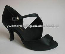Satin black latin ballroom salsa dance shoes samba cha-cha, waltz, rumba shoes dropship worldwide