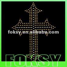 Fashion yellow cross glitter rhinestone transfer