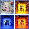 LED الملونة الرسم أو نمط اللون JAR الديكور / الكرتون، وعاء، والضوء، جمع وتخزين أشعة الشمس وضوء القمر هدية للام