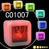 promotional color changing LCD table clock calendar digital desk clock with backlight dice shape digital clock
