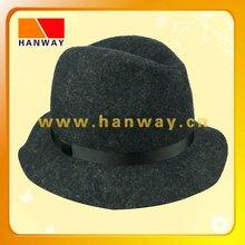 Fashion wool felt fedora hat with gg band and loop trim