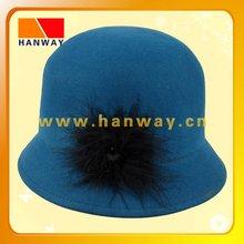 Fashion wool felt cloche hat with ostrich feather and rhinestone trim