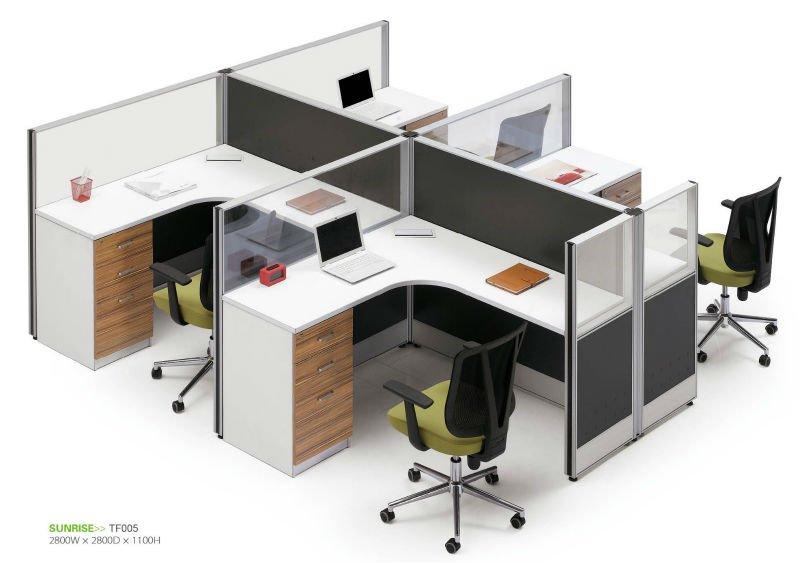 Modular de oficina muebles de vidrio partición de cuatro persona