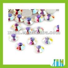 Flat round crystal glass beads AB rhinestone beads