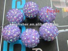 Attractive!! Fashion jewelry resin rhinestone balls, Loose crystal rhinestone balls beads!! Purple colors!! 16MM!! !!