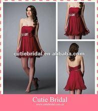 9430 Strapless Chiffon Short Dark Red Cocktail Dress