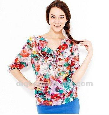 Modelos de blusas de tecido em chiffon 2013 venda quente para senhoras