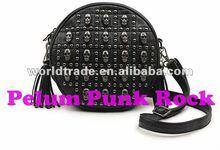gothic rock punk rivet studded skull metallic shoulder bag, handbag,celebrity style