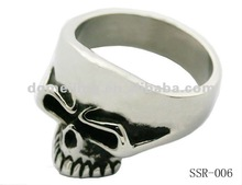 Cheap new design skull ring, shiny polishing 316l stainless steel jewelry ring SSR-006