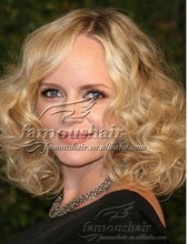 """Hot sale 14"""" glueless cap Malaysian virgin hair mixed color curly full lace wig with baby hair"""
